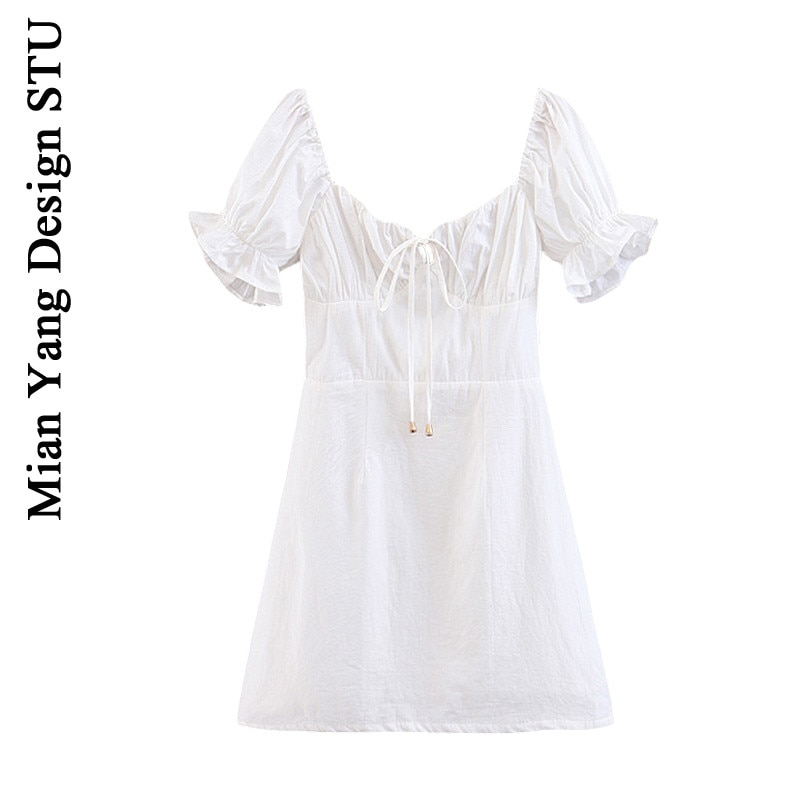 French Style Small High Cold White Fairy Puff Sleeve Retro Court Waist-Tight Vintage Age-Reducing Ho
