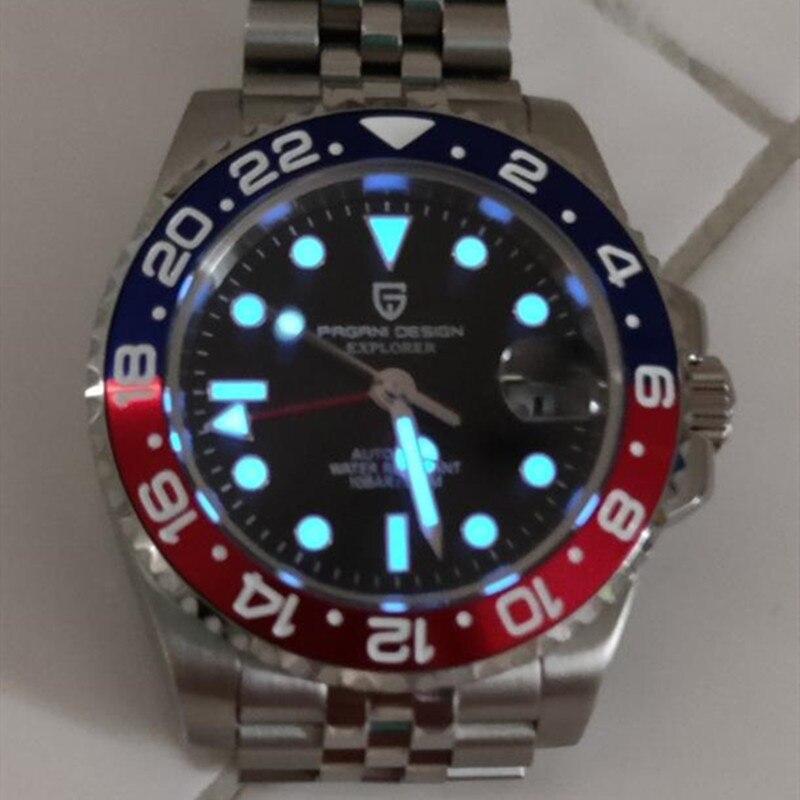 باجاني ديزاين-ساعة ميكانيكية أوتوماتيكية فاخرة للرجال ، ساعة يد رجالية مقاومة للماء ، ياقوت 40 مللي متر ، 2020 متر ، GMT ، 100