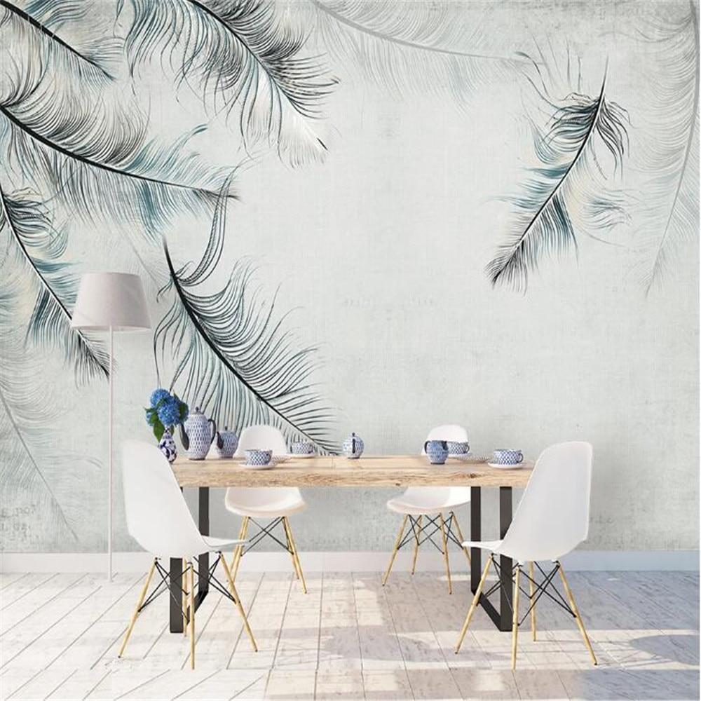 Papel pintado grande personalizado milofi, mural de pared de estilo nórdico, mural elegante, plumas de blues