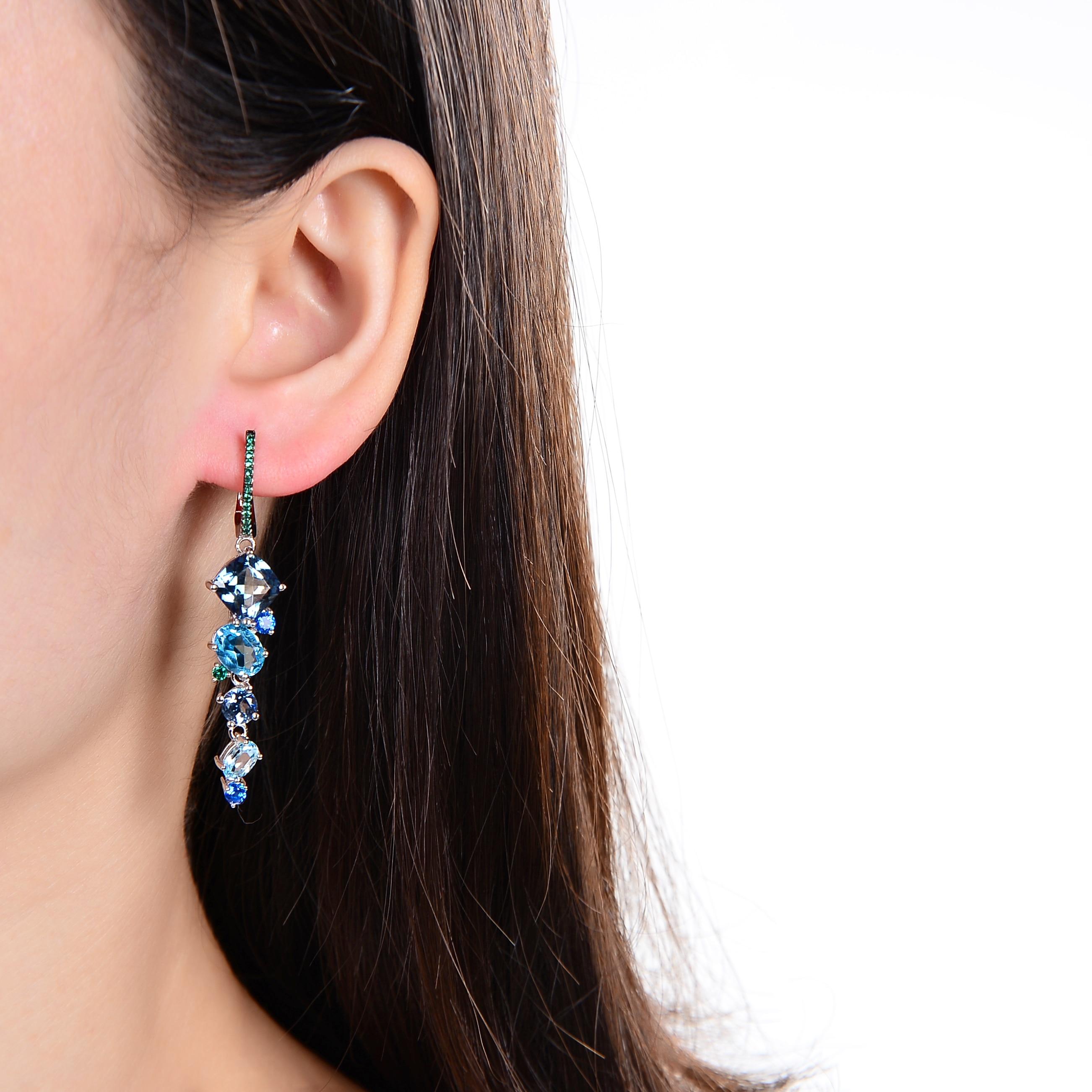 GEM'S الباليه-أقراط باليه من الفضة الإسترليني عيار 925 ، مجوهرات مصنوعة يدويًا ، كوارتز صوفي طبيعي ، توباز ، للنساء ، لحفلات الزفاف