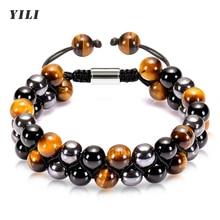 8mm Lava Stone Bracelet for Men Tiger Eye Bracelet Healing Anxiety Braided Rope Natural Stone Yoga B