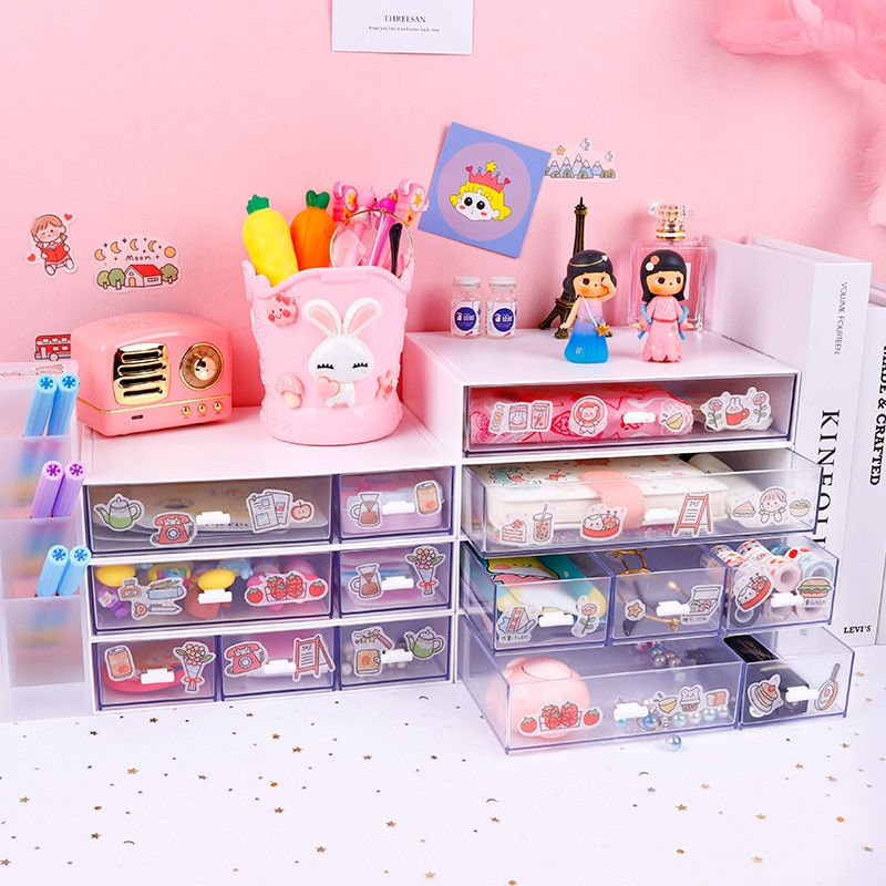 Yisuremia Kawaii ABS Drawer Desk Organizer Desktop Storage Box For Documents Pens Container Office School Stationery Supplier