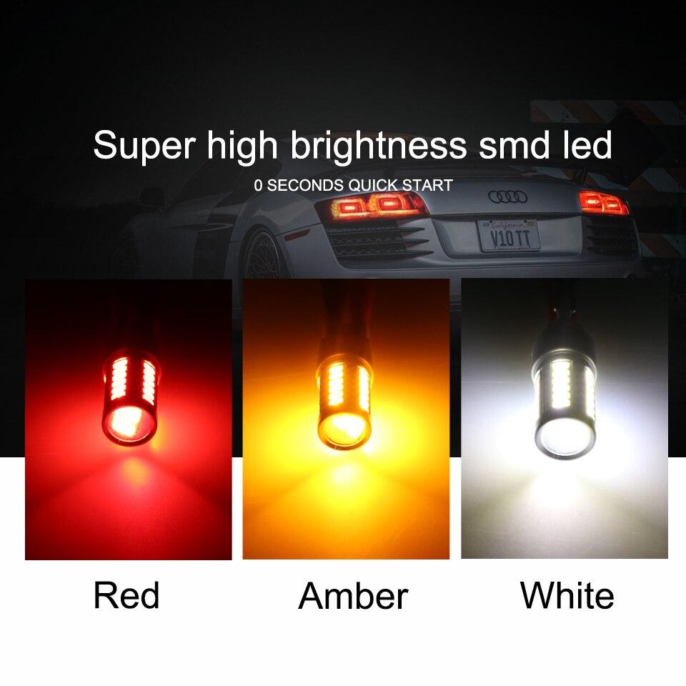 Купить с кэшбэком ANMINGPU 2x Signal Lamp W21/5W T20 Led Bulb 33SMD 5730 Chips 7440 W21W WY21W 7443 Canbus Reverse Backup Turn Signal Light White