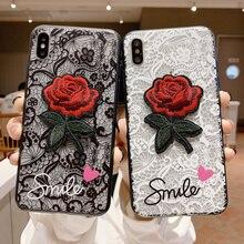 Koronki haftowany kwiat róży telefon etui dla iphonea x 8 7 6 6S Plus 5 5S etui na iphonea XR XS MAX 7Plus z smycz tylna pokrywa
