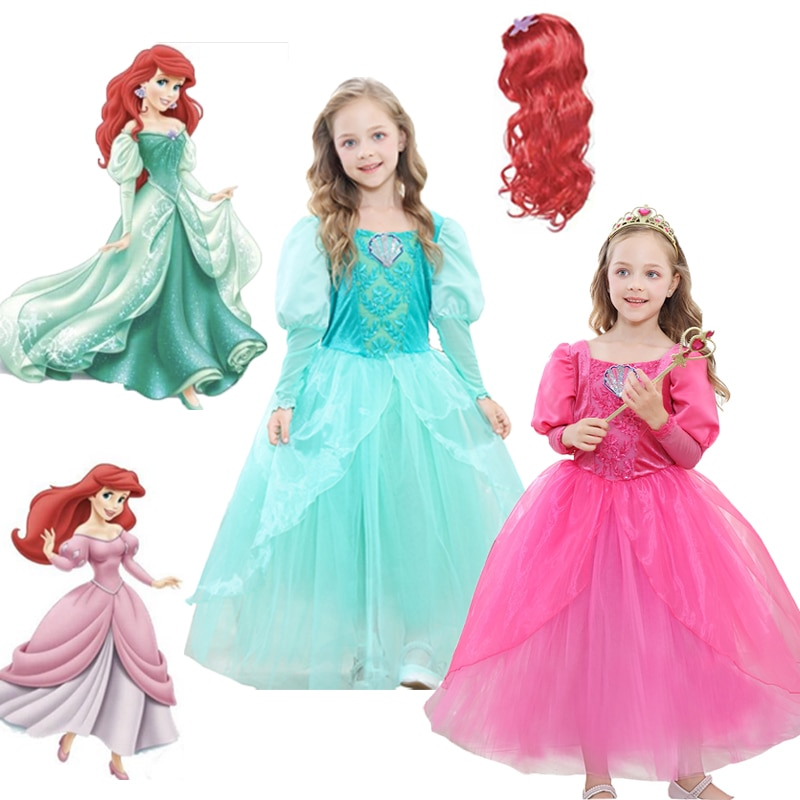 2021 Ariel Mermaid Princess Dress Cosplay Costumes for Kids Baby Girl Birthday Party Dresses Halloween Costume Wig Anime Outfit