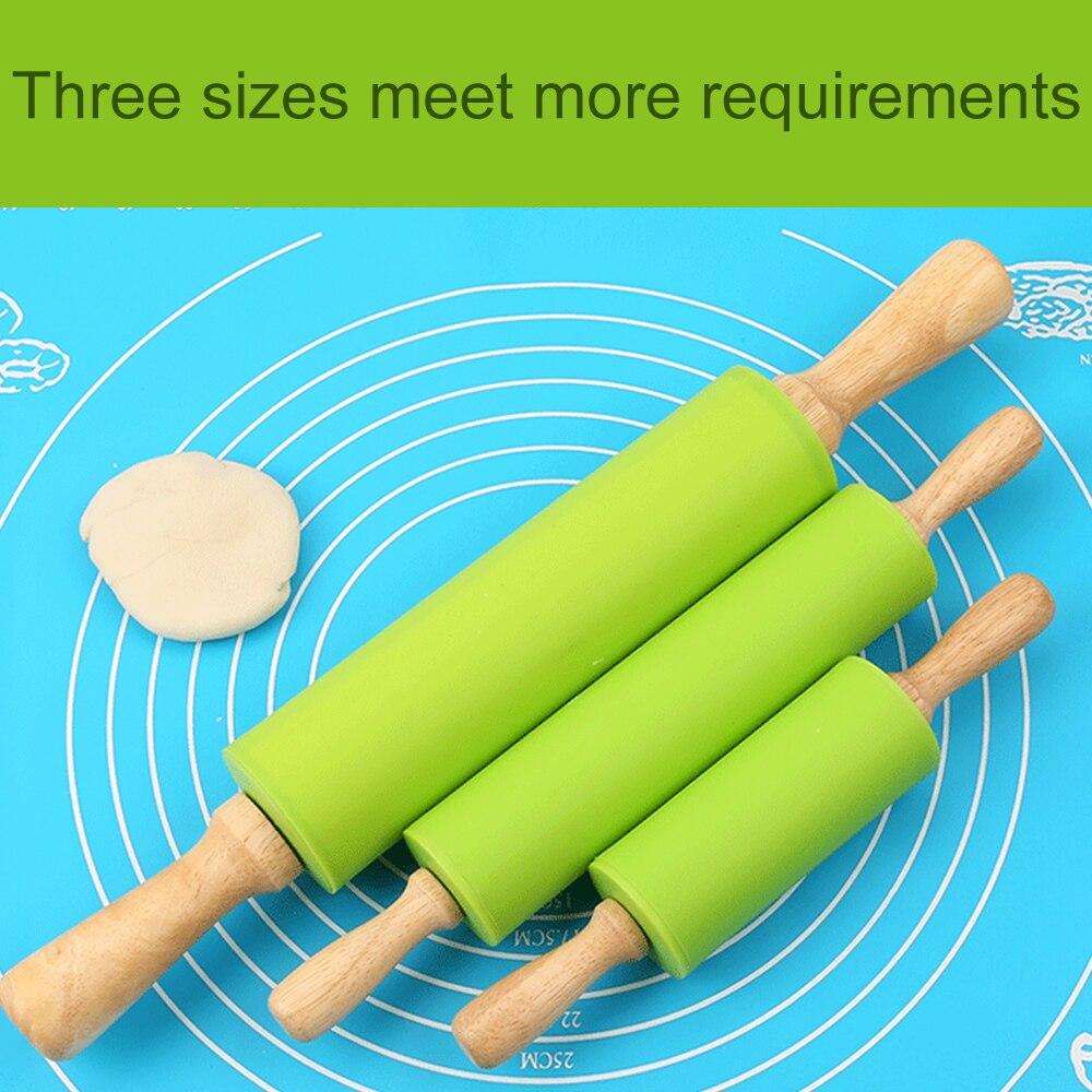 S M антипригарная деревянная ручка Силиконовая роликовая шпилька для теста, теста, муки, валика для кухни, инструменты для выпечки, Рождественская Скалка