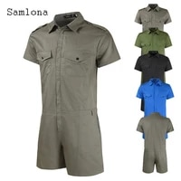 samlona plus size 5xl mens casual rompers skinny pantalons leisure zipper notched trousers fashion overalls mens clothing 2021