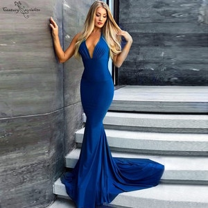 Open Back Mermaid Evening Dresses 2020 Deep V-Neck Simple Long Women Formal Party Gowns Prom Dresses Robe De Soiree Cheap