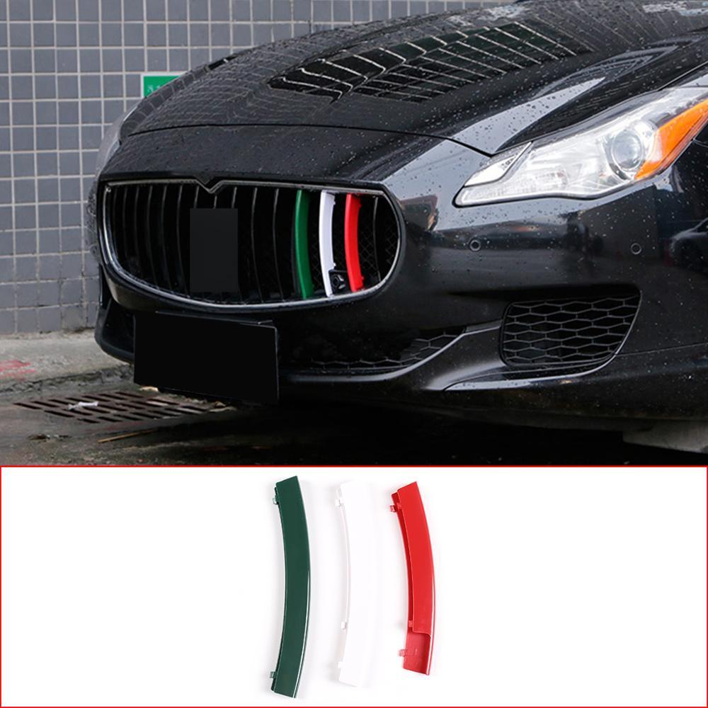 Para Maserati Ghibli 2014-2017 Quattroporte 2013-16 ABS plástico Tricolor rejilla delantera decoración tiras accesorios de coche Exterior