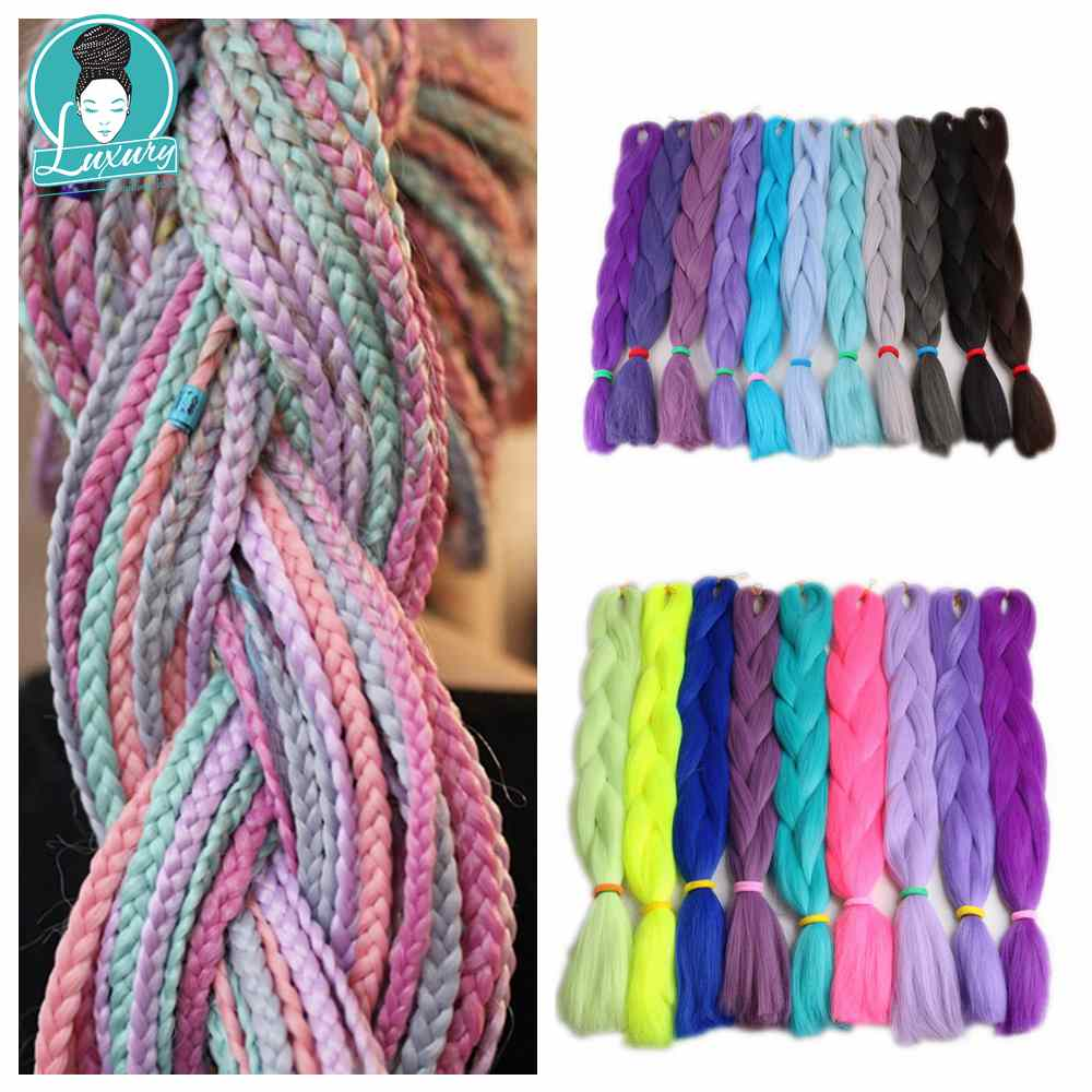 Luxury 1pack Navy Neon Olive Green Lavender Lilac Vintage Pink  Synthetic Jumbo Braiding Hair 24 60cm 80grams