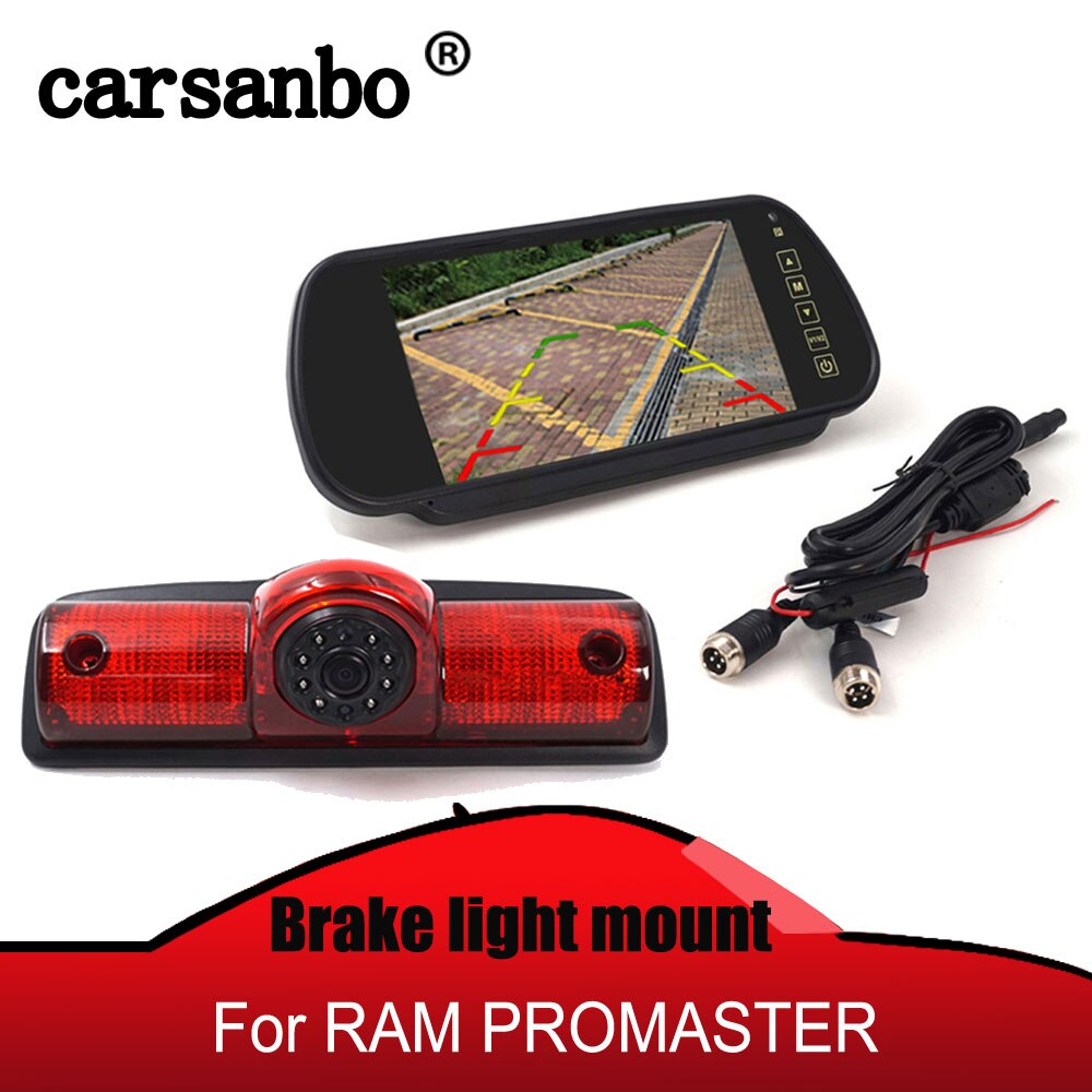 Monitor de espejo retrovisor de 7 pulgadas con vista trasera de coche serversing cámara de luz de freno de montaje alto para RAM PROMASTER cargos van opcional