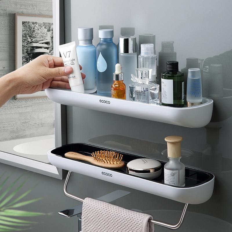 Bathroom Shelf No Drill Organizer Wall Mounted Shampoo Spices Shower Storage Rack Holder Bathroom Accessories