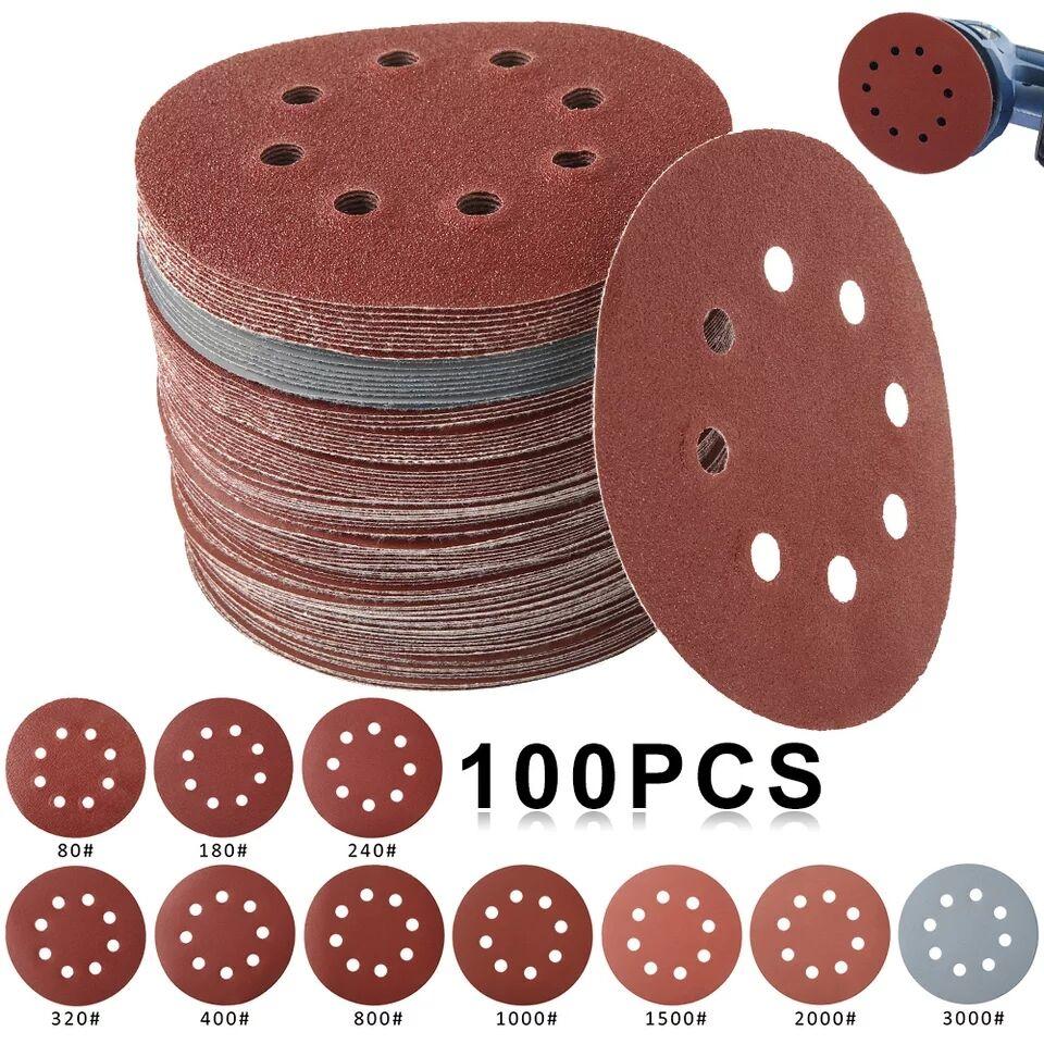 50 / 100db 125 mm-es kerek csiszolókorongok csiszolópapír nyolc lyukú korongos homoklemezek 80–3000 csiszolókorong polírozás