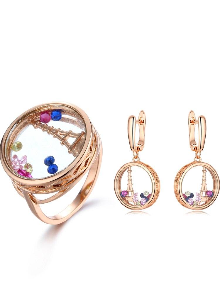 2020 moda multicolorido anel brincos conjuntos para mulheres cz zircon casamento conjuntos de jóias de vidro para festa de casamento brnicos