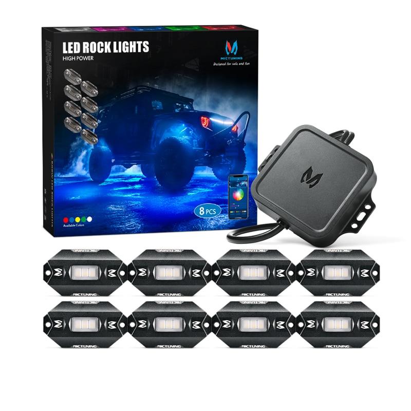 MICTUNING C1 8 cápsulas RGBW LED de luces remoto Multicolor LED luz de neón Kit con controlador Bluetooth, modo Música