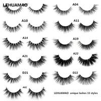 lehuamao makeup false eyelashes handmade mink lashes fluffy long 3d strip thick fake faux mink eyelashes makeup beauty tool a19