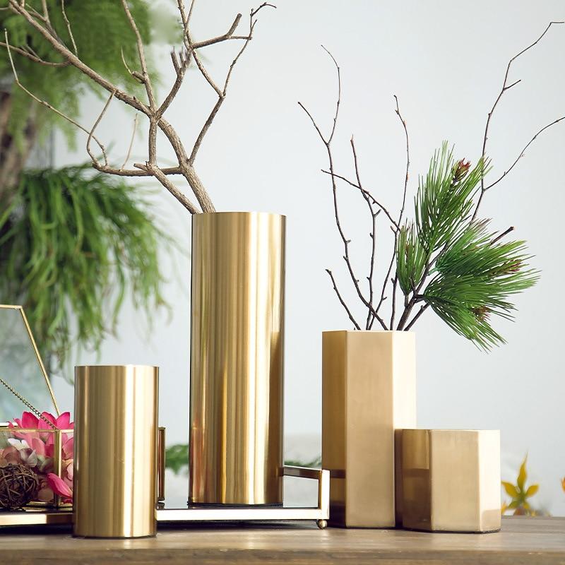 Florero de Metal galvanizado de cilindro de lujo ligero estilo europeo, decoración de escritorio para sala de estar, adornos de flores de hierro