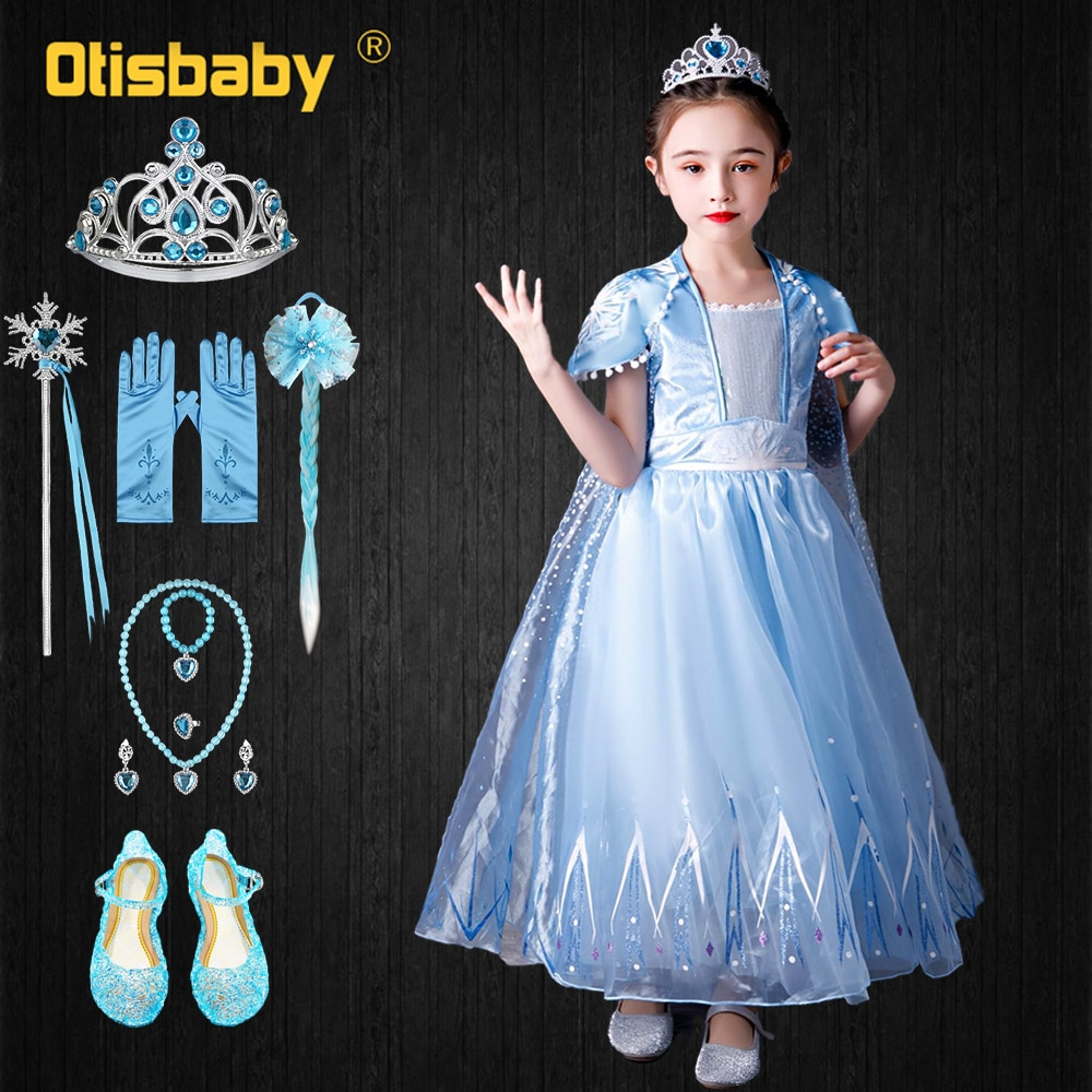 Verano princesa Elsa vestido concurso de belleza de cumpleaños azul claro vestidos para niñas de edad 2 3 4 5 6 7 8 9 10 de los niños disfraces de Halloween