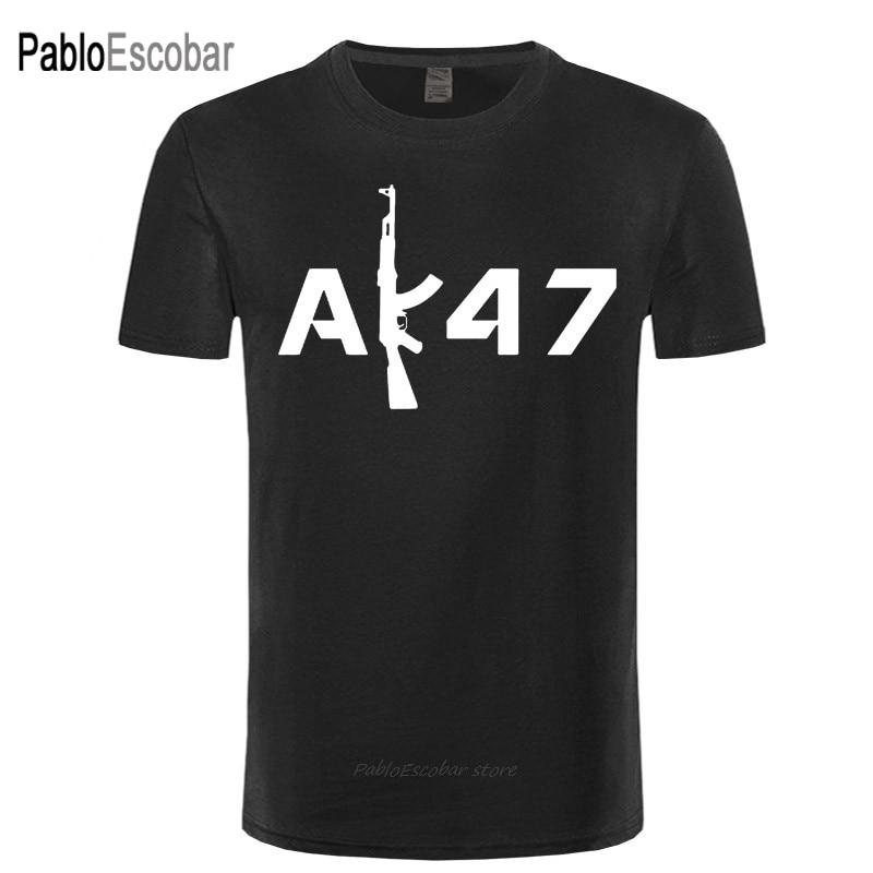 Fun Design AK47 Gun Cartoon Tshirt Fashion 16 Colors O Neck Cotton T-shirt Kalashnikov AK 47 Letter print Men T shirt Street