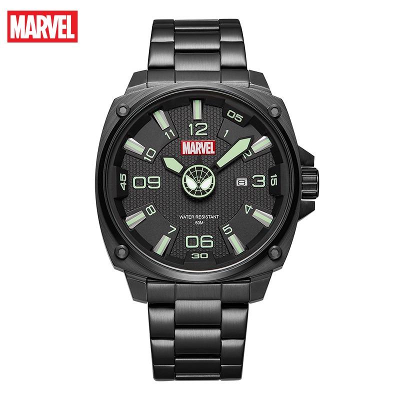 Disney Marvel Captain America Iron Man Watch Men's Quartz Belt Casual Cool Student Waterproof Watch