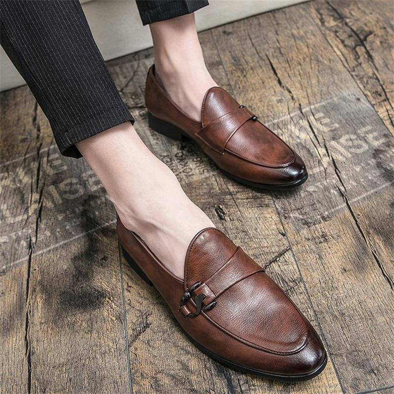 2021 Spring New Men's Casual Leather Shoes All-match Loafers Men's Comfortable and Fashionable One-s
