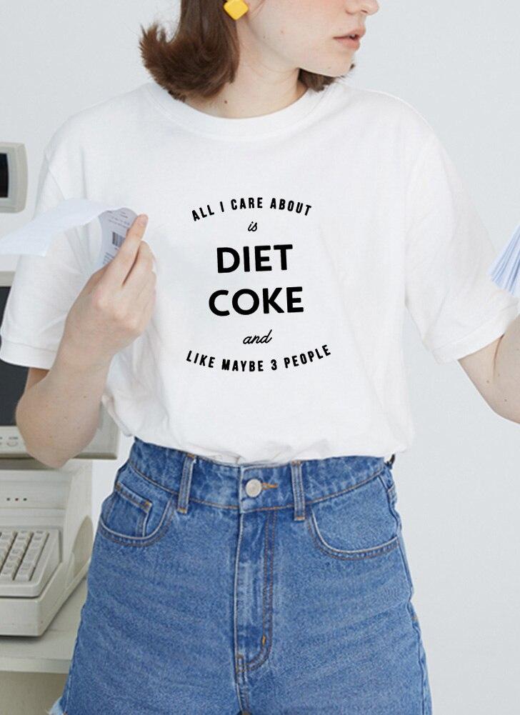 DIET COKE Print T Shirt para mujeres de manga corta suelta camiseta superior Casual verano Streetwear negro y blanco camiseta Mujer