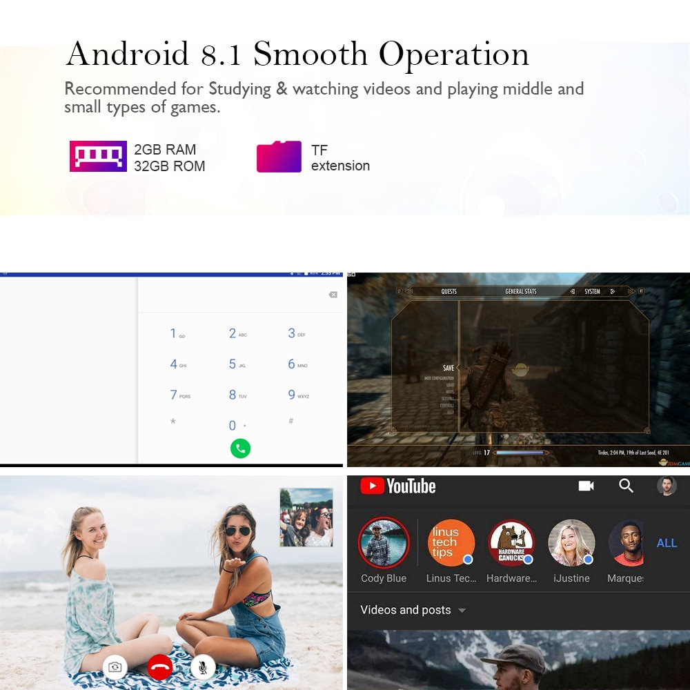 ANRY 10 inch Android Tablet Octa Core Dua Sim Card Slots 3G/4G Phone Call Phablet 2+32GB ROM Android 8.1 Tablet PC 10.1 enlarge