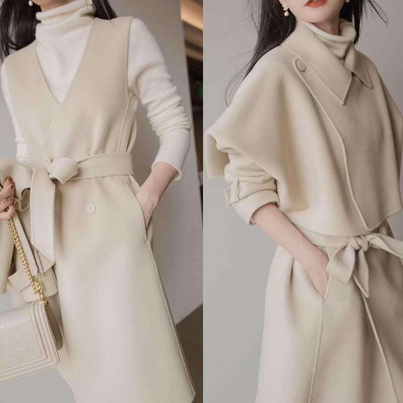 2 قطعة مجموعة xl الكورية نمط حجم كبير قطعتين مجموعة النساء الشتاء مجموعة معطف التنانير الدعاوى الصلبة القمم Skirt تنورة مجموعات
