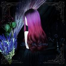 Progressif noir rose violet Lolita perruque Harajuku fée sombre sorcière Cosplay frange frisée longue frange cheveux synthétiques pour filles adultes