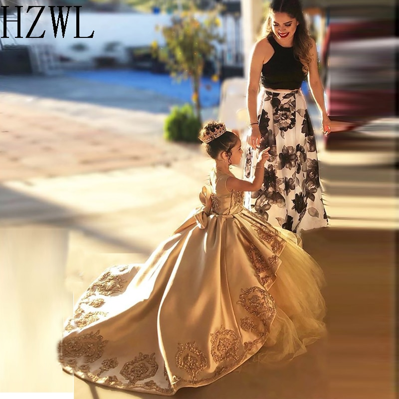 2020 Lace Applique Satin First Communion Dresses Kids Evening Ball Gown Bow Back Girls Pageant Dress Jewel Flower Girl Dresses gold lace applique first communion dresses short sleeves top lace flower girl dress lace applique skirt girl pageant dresses