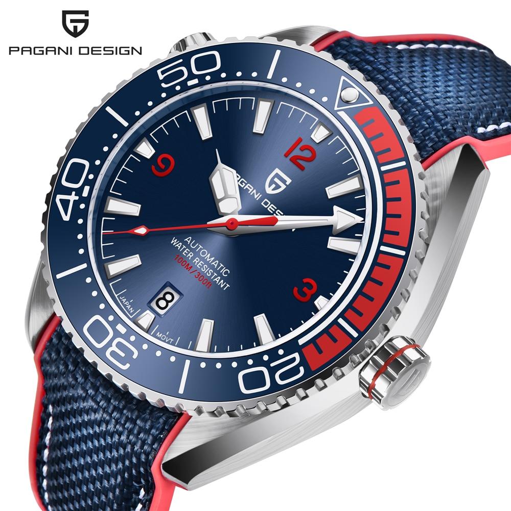 PAGANI DESIGN-ساعة يد ميكانيكية فاخرة من الياقوت ، ساعة أوتوماتيكية من الفولاذ المقاوم للصدأ ، مقاومة للماء ، 100 متر