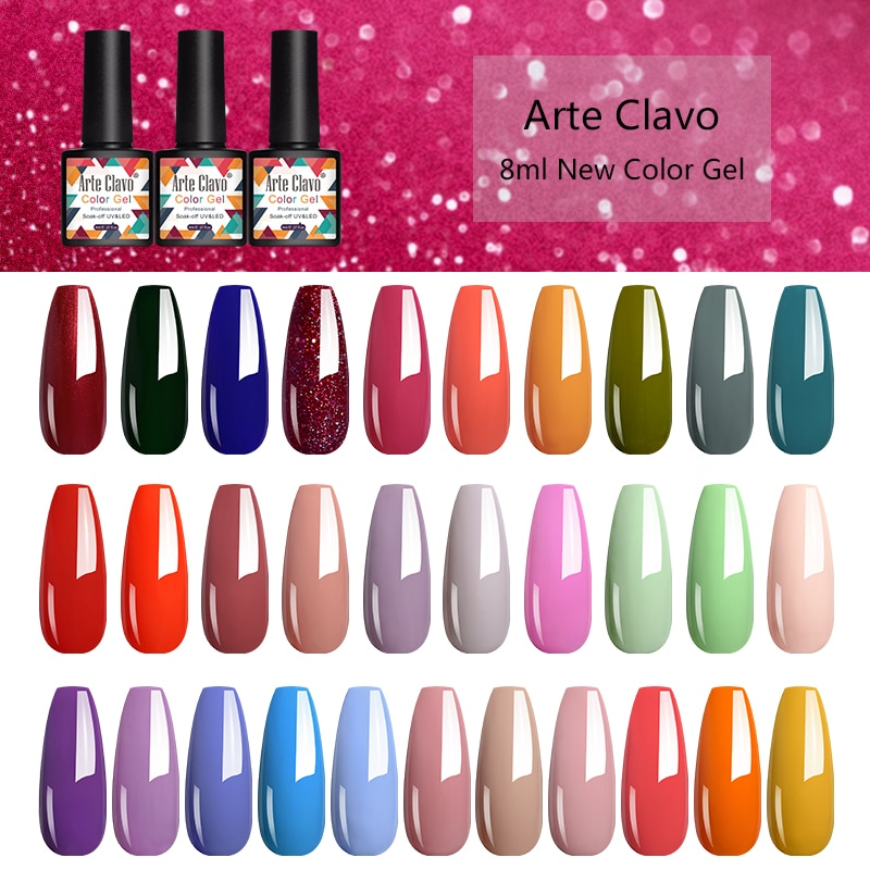 Arte Clave New Arrival Gel Nail Polish Soak Off Nail Art Varnish Lacquer 8ml LED Pink Red Glitter Ge