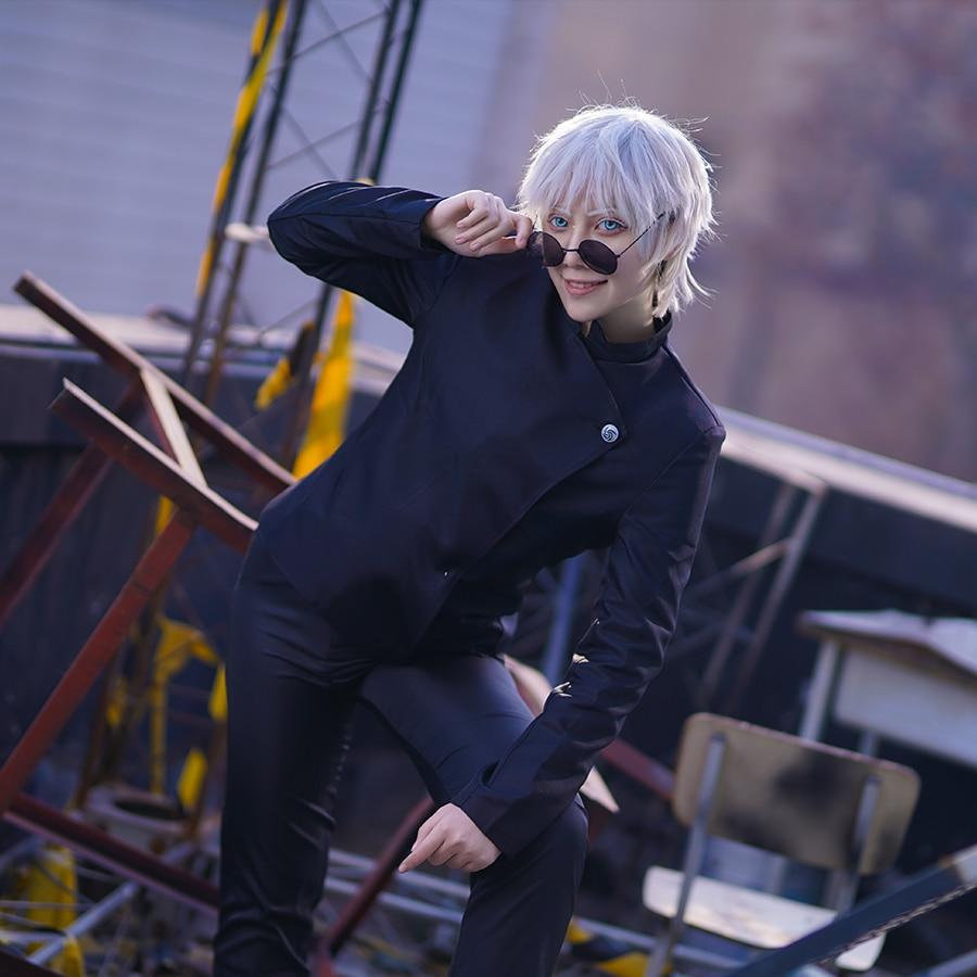 زي تأثيري الياباني Jujutsu Kaisen مجموعة ملابس الهالوين لجوجو ساتورو/جيتو سوجورو كوس ملابس علوية + بنطلون/تنورة + باروكة