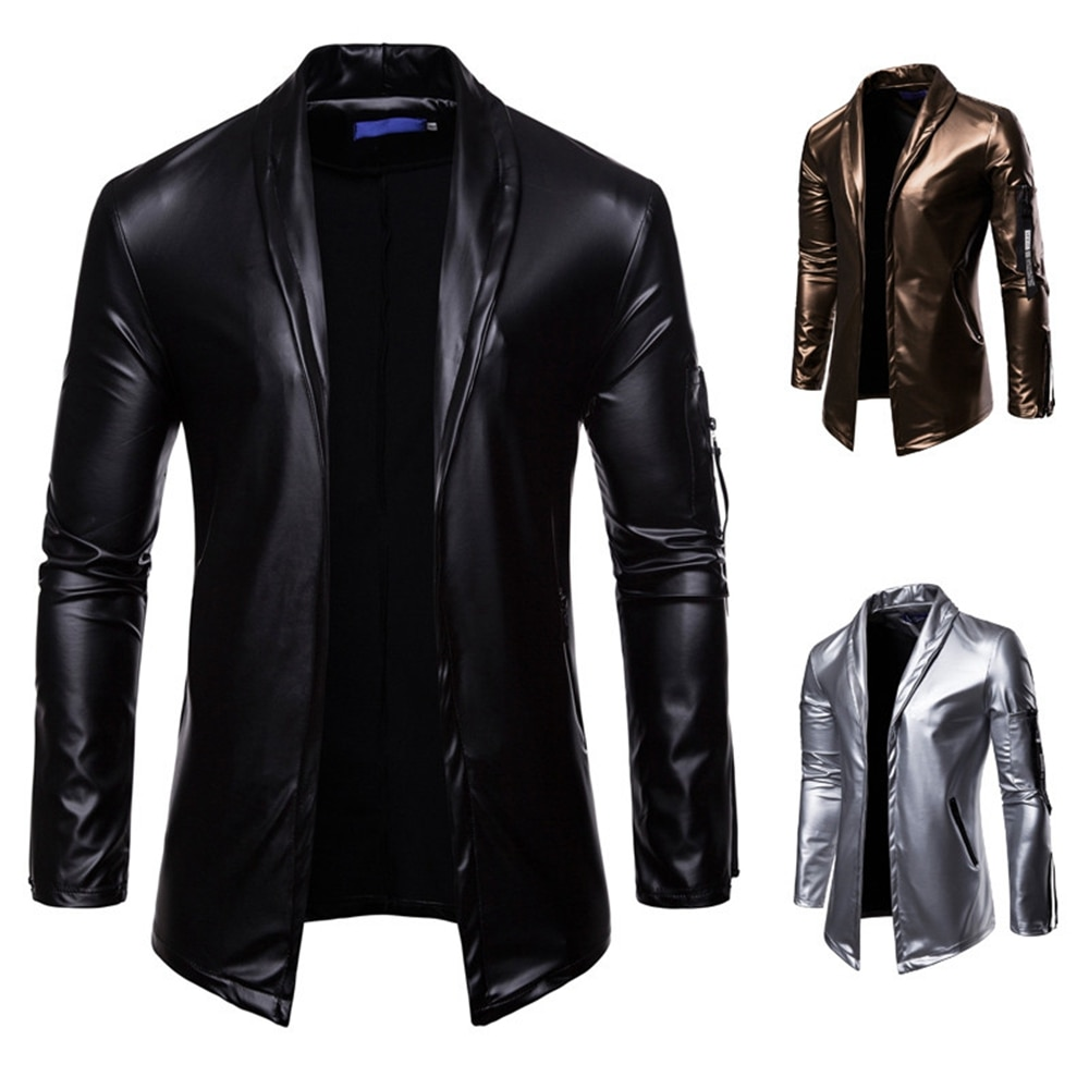 Faux Leather 2020 New Style Casual Men's Pure Color Stand Collar Stretch PU Zipper Pocket Cardigan Hip-hop Men's Leather Jacket