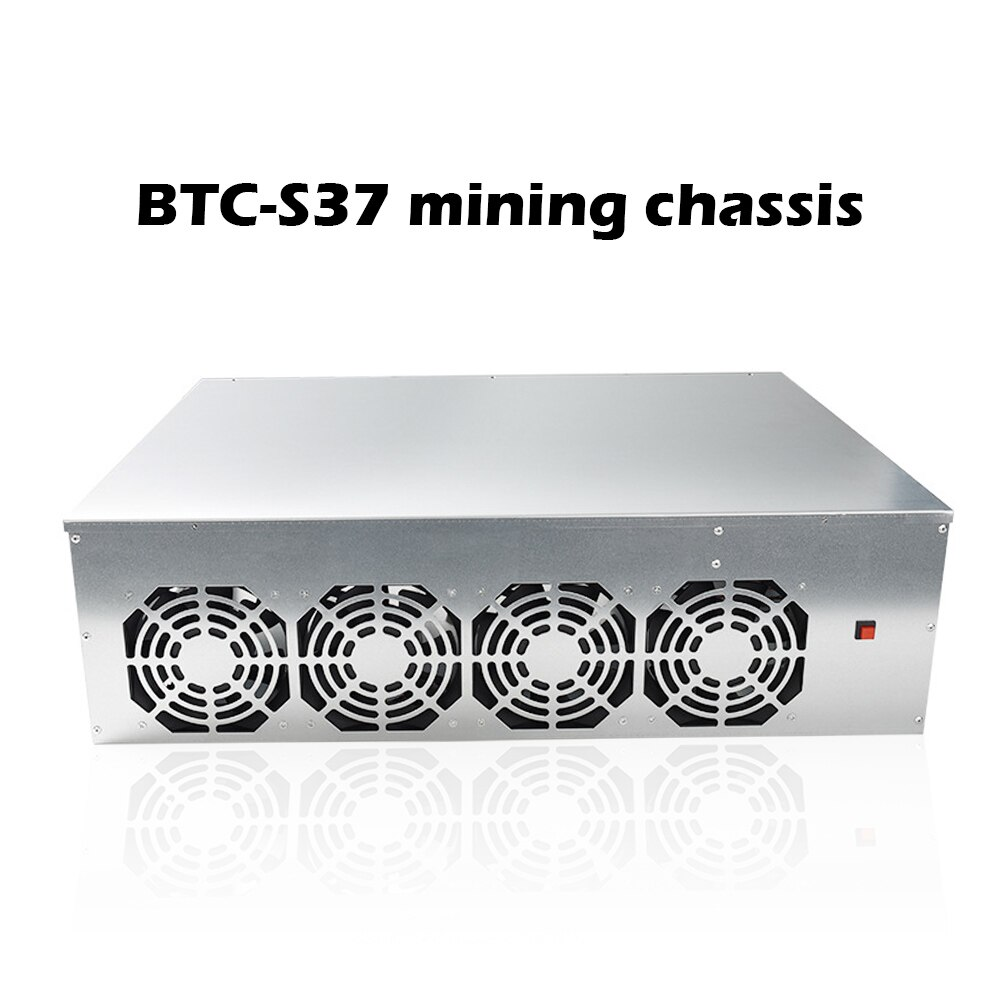 BTC-S37 Mining Chassis Combo 8 GPU Bitcoin Crypto Ethereum BTC Low Power Mining Motherboard With 4 Fans 8GB RAM MSATA SSD