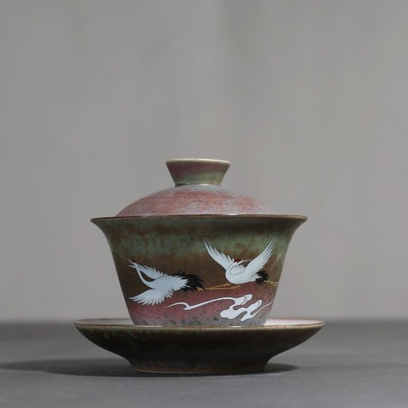 وعاء من السيراميك بغطاء رافعة ريترو ، Sancai ، مقبض يدوي ، Gaiwan ، فنجان شاي الكونغ فو ، مجموعة أدوات الشرب المنزلية