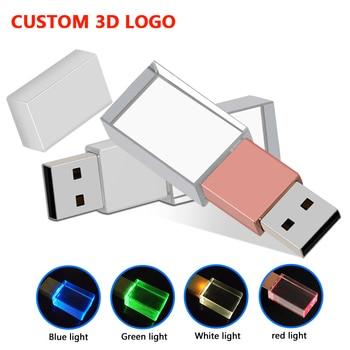 modern crystal metal USB flash drive pen drive 16GB 32GB 64GB 128GB External Storage memory over 10pcs free Custom Logo