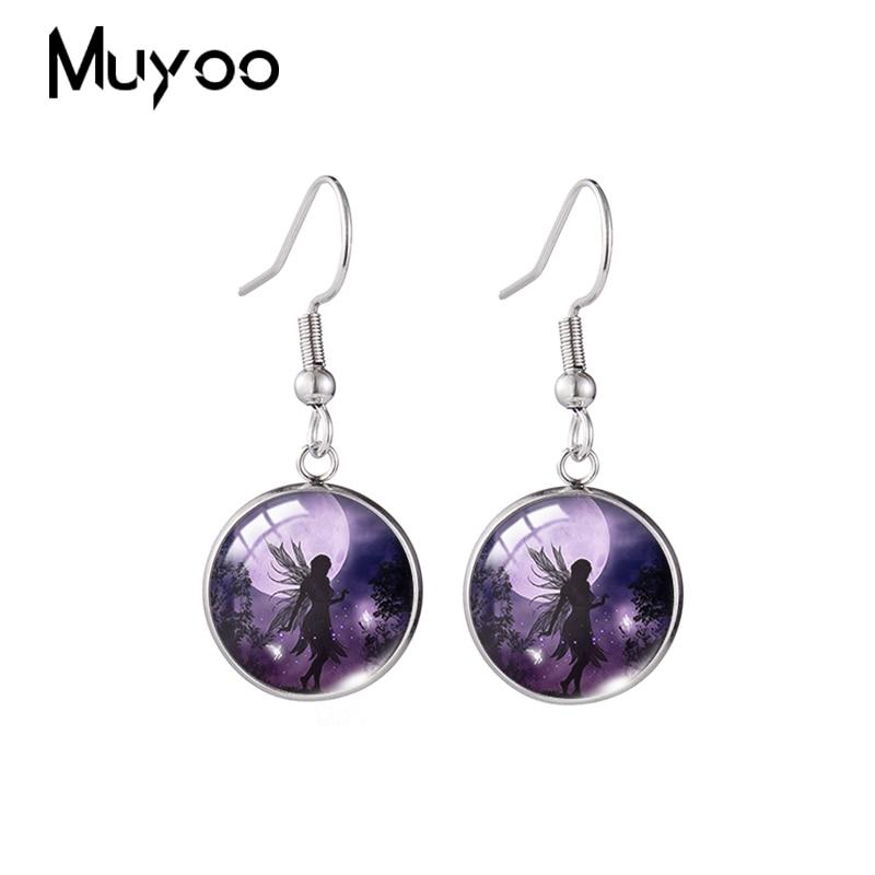 2020 New Moon Fairy Art Earring Silhouette Painting Fish Hook Earrings Handmade Glass Cabochon Jewel