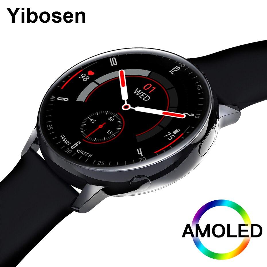"""Yibosen de lujo 2020 reloj inteligente AMOLED 1,2 """"HD 390*390 Monitor de frecuencia cardíaca ECG IP68 impermeable BT5.1 superior de las mujeres de los hombres Smartwatch"""