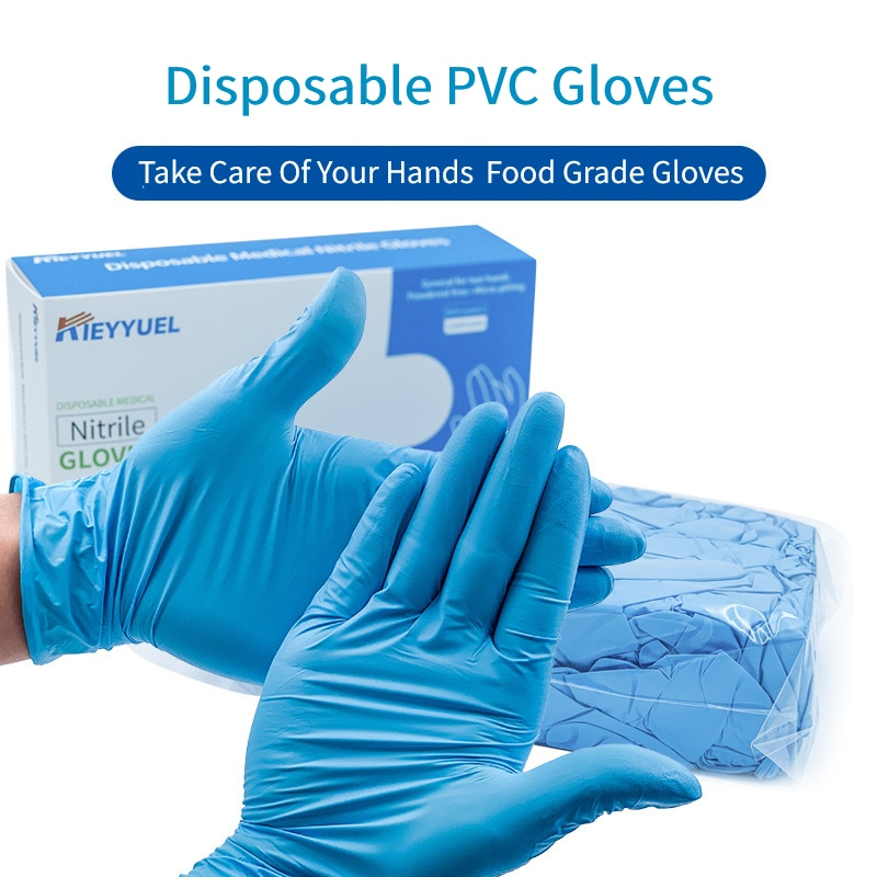 100PC Nitrile Disposable Gloves Waterproof Powder Free Latex Gloves For Household Kitchen Laboratory Cleaning Gloves
