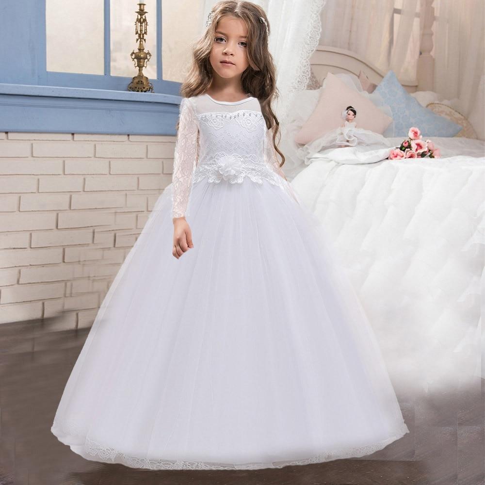 فستان صيفي طويل لوصيفات العروس ، فستان أميرة للأطفال ، فستان زفاف ، أبيض ، أحمر ، مع فيونكة ، للأطفال من سن 10 إلى 12 سنة