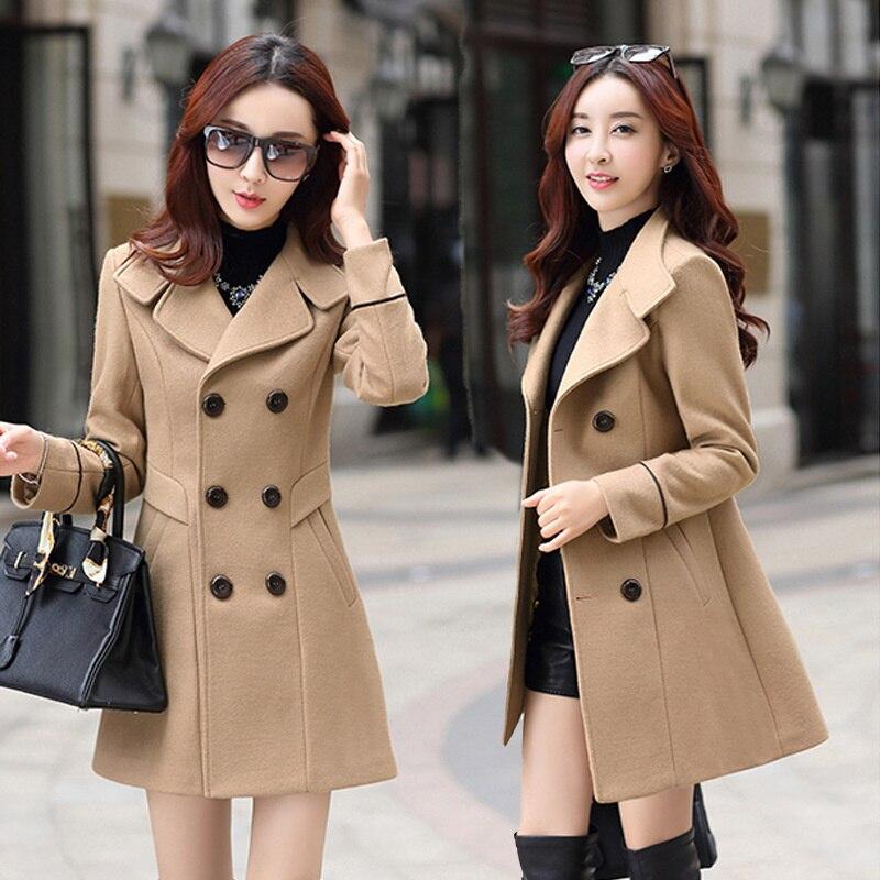 الأم منقوشة الصوف معطف متوسطة طويلة الشتاء منتصف العمر المرأة الصوفية معطف الشتاء الإناث