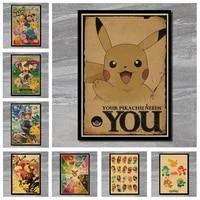 Affiche de dessin anime pokemon de poche monstres  Vintage  retro  Patinata  decorative  autocollant mural  decor artistique pour la maison  DIY bricolage