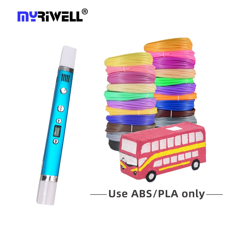 Myriwell ثلاثية الأبعاد القلم المبتدئين Ru الأسهم شاشة LED الإبداعية أفضل هدية للأطفال ثلاثية الأبعاد PenSpeed قابل للتعديل ABS/PLA/PCL خيوط RP-100C