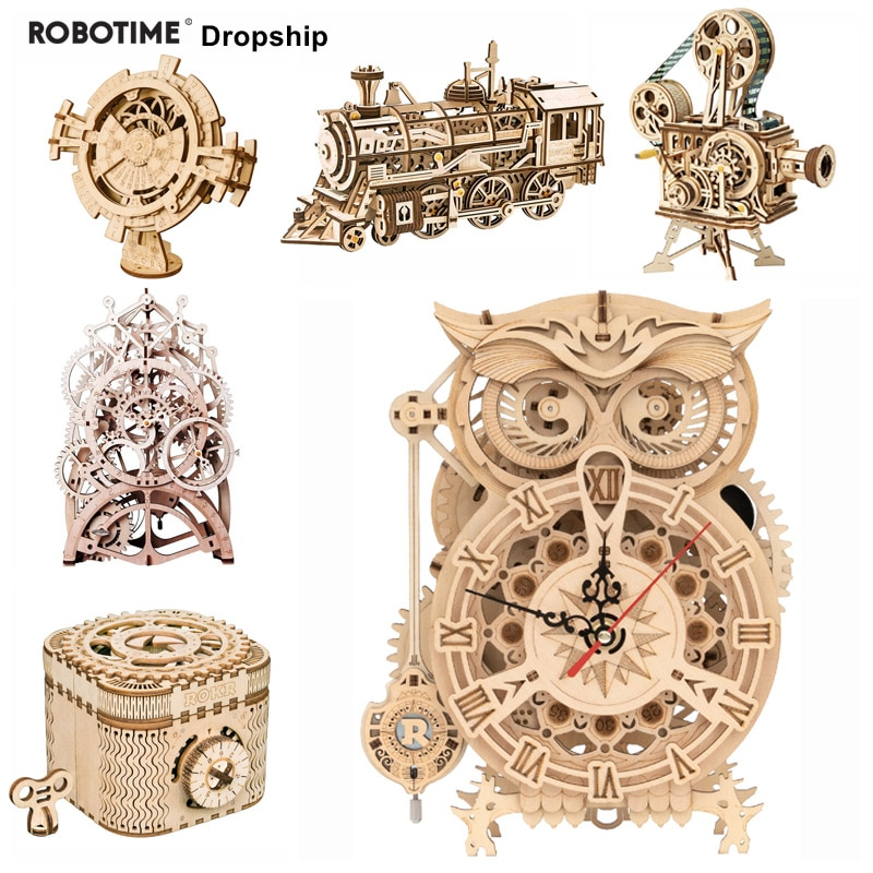 Robotime 3D Puzzle Toy Wooden Model Gear Mechanical Toy Laser Cutting Assembly Building Kit Birthday