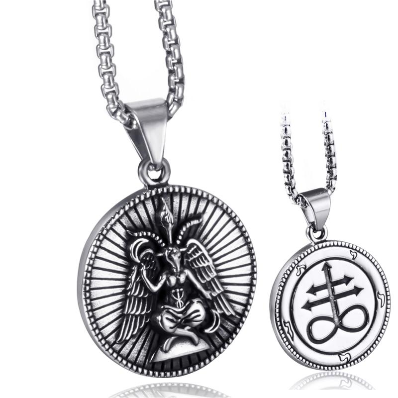 Мужская подвеска из нержавеющей стали Elfasio, ожерелье с кулоном из козла бапхомета, сатанина, сатана, Левиафан, крест, демон, дьявол, Люцифер, подвеска, цепь