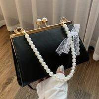 new fashion pearl decor women handbag clip tote pu leather elegant shoulder bag womens solid travel messenger crossbody bags