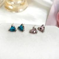 s925 needle delicate jewelry heart earrings popular design sweet blue white glass stud earrings for women girl gifts wholesale