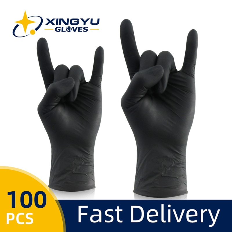 Nitrile Gloves Black 100pcs/lot Food Grade Waterproof Allergy Free Disposable Work Safety Gloves Synthetic Nitrile Gloves недорого
