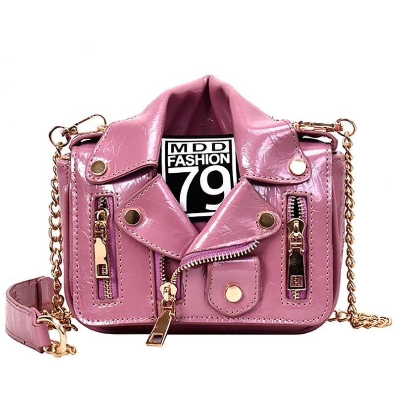 European Fashion Famous Brand Designer Motorcycle Bags Luxury Jacket Shape Shoulder Messenger Bag PU Leather Luxury Handbag Sac